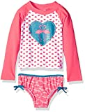 Kiko & Max Girls' Little Suit Set with Long Sleeve Rashguard Swim Shirt, Coral Flamingo, 24M