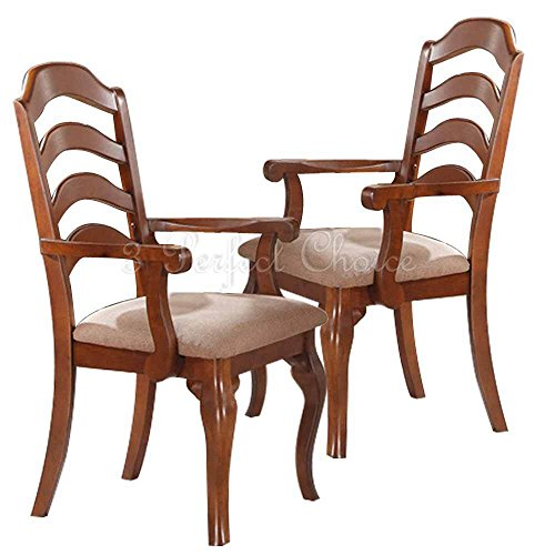 1PerfectChoice Set of 2 Formal Dining Arm Chairs Ladder Back Fabric Seat Solid Wood Oak Finish