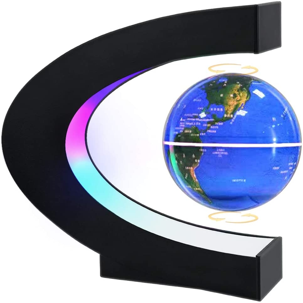 Magnetic Levitating Globe with LED Light, MOKOQI Cool Tech Gift for Men Father Boys, Birthday Gifts for Kids, Floating Globes World Desk Gadget in Office Home Decor