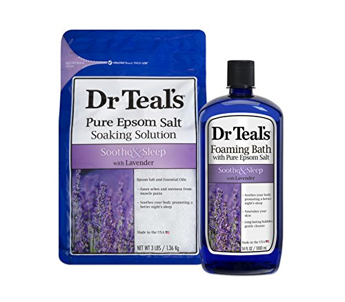Dr Teal's Epsom Salt Soaking Solution and Foaming Bath with Pure Epsom Salt, Lavender (The Best Bath Salts)