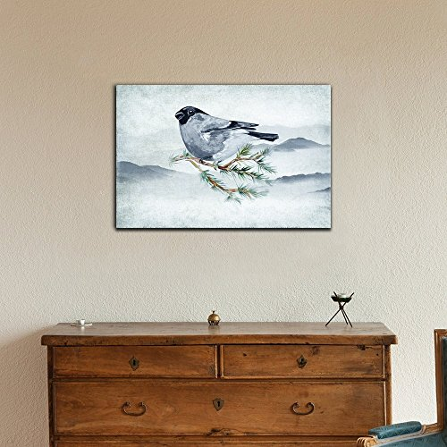 Watercolor Painting Bullfinch on a Pine Branch
