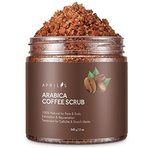 Aprilis Arabica Coffee Scrub | 100% Natural Exfoliate/Peeling/Deep Cleanser with Anti-Inflammatory & Sun Damage Repairing Caffeine Against Age Spots and Accelerated Skin Aging | 12 oz