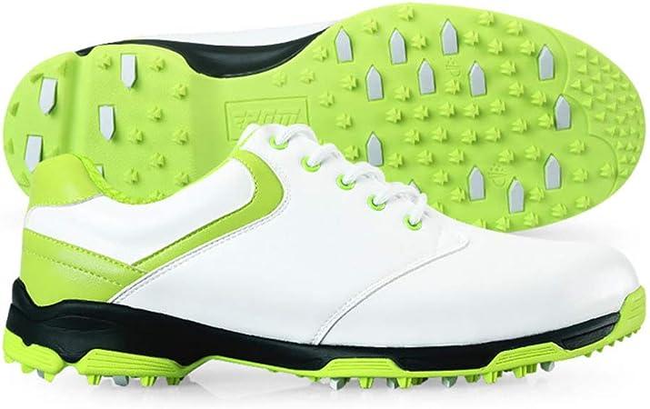 FJJLOVE Zapatos del Golf De Las Mujeres, A Prueba De Agua Spikes Campo De La Zapatilla De Deporte Antideslizante De Cuero Ate para Arriba El Zapato Ocasional Que Recorre,Verde,35: Amazon.es: Hogar