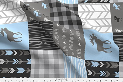 Baby Fabric Fleece - Spoonflower Moose Fabric Moose Patchwork Quilt - Wholecloth - Blue, Grey and Black - Buffalo Plaids - Baby Boy Woodland by Sugarpinedesign Printed on Fleece Fabric by The Yard