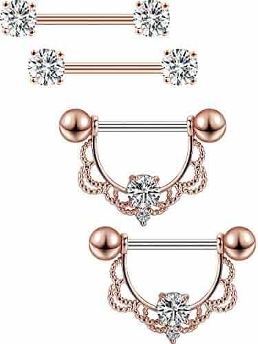 Jovitec 2 Pairs Stainless Steel Nipple Ring CZ Barbell Nipple Rhinestone Rings Nipple Tongue Body Piercing Jewelry