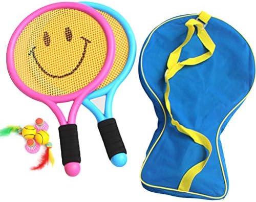 HELEVIA Kinder Badmintonschläger mit Badminton, Tennisschläger mit Ball und Aufbewahrungstasche für Kinder, Federball, Indoor- und Outdoor-Sporttraining, Sportspielzeug Set, Kinder Fitnessgeräte