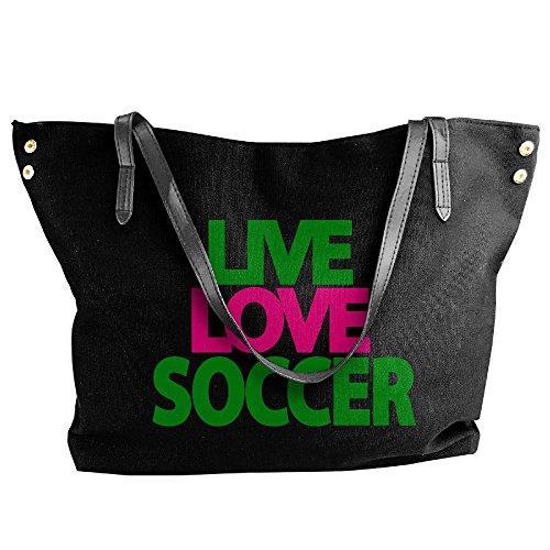 Tote Handbag Soccer Shoulder Black Love Canvas Large Handbags Live Women's v4qFOwn
