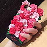 CASESOPHY 3D Pink Rose Case for iPhone 6 iPhone 6s Regular Size 4.7' Screen Soft Silicone Rubber Material Luxury Designer Chic Exquisite Delicate for Kids Women Teens Girls