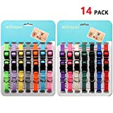 Milliepet Puppy ID Collars Nylon Soft Identification Colorful Adjustable Breakaway Safety Whelping Litter Collars Pups Record Keeping Charts 14pcs/set