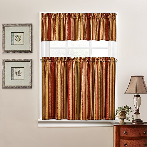 Traditions by Waverly 14317052036CRI Stripe Ensemble 52-Inch by 36-Inch Tier and Valance Set, (Waverly Stripes Valance)