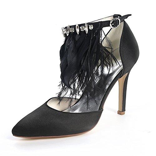 Mi 9 Toe Blanc Chaussures Talon De nouveau Layearn Peep Robe Mariage 5cm Fleurs Mariée Femme Black Haut Pour Chunky Chaton wX7wTBZq