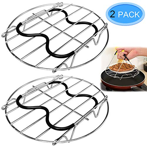 2 Pack Steamer Rack Trivet with Heat Resistance Silicone Handle for Instant Pot Pressure Cooker 6 or 8 Qt, Stainless Steel Egg Steamer Rack - Long Handles for Easy Pot Removal By MENOLY