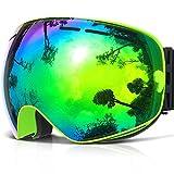 Ski Goggles,COPOZZ G1 Mens Womens Youth Ski Snowboard Snow Snowboarding Skiing Goggles,Over Glasses OTG Anti Fog &UV,Blue Green Black Red REVO Mirror lens &Yellow Clear Lens For Night