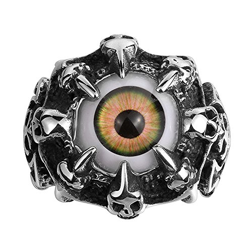 IVYRISE Mens Jewelry Dragon Claw Colorful Eyeball Punk Ring, Stainless Steel ()