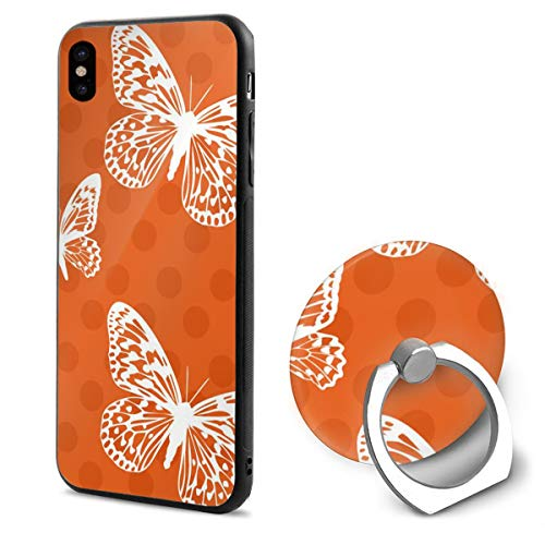 Orange Butterflies iPhone X Mobile Phone Shell Shell Ring Bracket Cover Cases ()