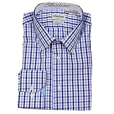 Berlioni Mens Modern Fit Plaid Dress Shirt