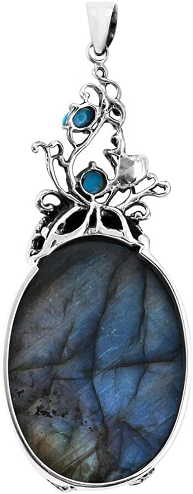 TJC Floral Vine Pendant for Women in 925 Sterling Silver with Labradorite Sleeping Beauty Turquoise 97.26 Ct