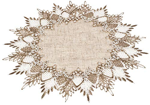 Linens, Art and Things Lace Doily 16 inches Neutral Earth Tones Table Topper Scarf Place Mat Round Doily