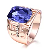 TEMEGO Rose Gold Amethyst Rings for Wome