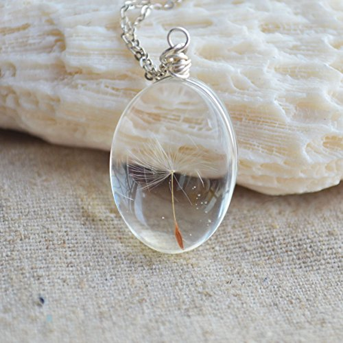 - Dandelion Seed Make a Wish Real Flowers 925 Sterling Silver Necklace 17.7