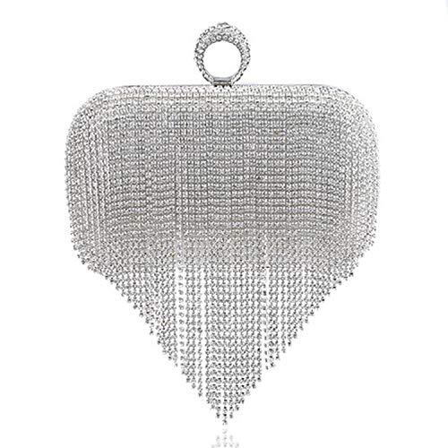 2018 Tassel Rhinestone Finger Ring Evening Bags Diamonds Wedding Handbags Women Day Clutch Mini Purse Bag With Chain,Silver