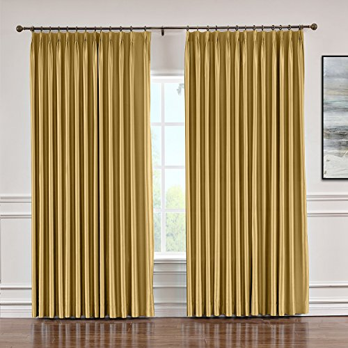 Macochico Indoor Faux Dupioni Silk Curtains Pinch Pleated Blackout Drapes Panels for Bedroom Living Room Office Library Thermal Insulated, Gold 84