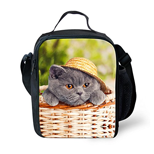 HUGS IDEA Trendy Cat British Shorthair Print Lunch Tote Bag Lunchbox Food Container