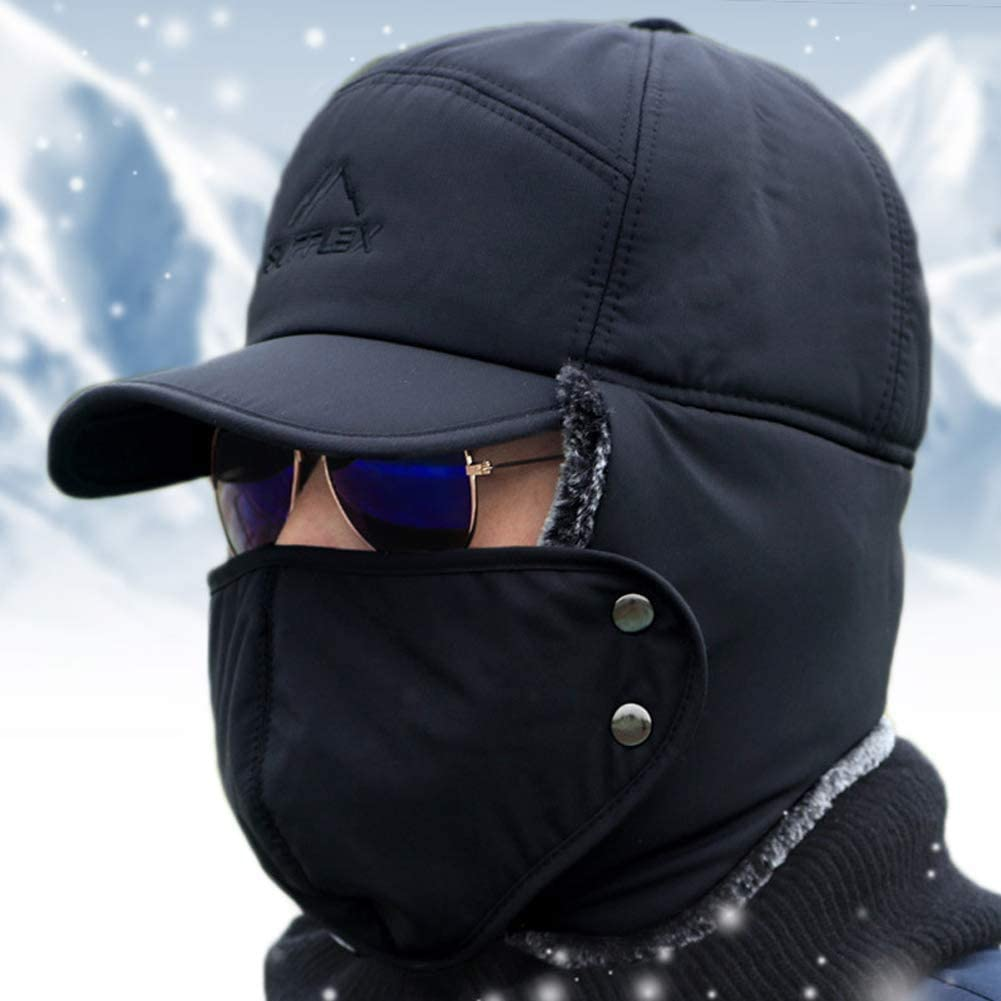 Chapeau de trappeur dhiver pour homme avec rabat pour les oreilles le cyclisme la neige thermique en fourrure les sports dhiver protection contre le vent Chaud la chasse le ski