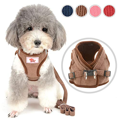 Zunea Small Dog Harness and Leash Set No Pull Adjustable Reflective Step-in Puppy Boy Girl Vest Harnesses Soft Corduroy Mesh Padded for Pet Dogs Cats Chihuahua Brown XS ()