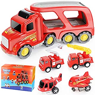 ANNKIE Fire Truck Car Toys Set,Friction Powered Car Carrier Trailer with Sound and Light, Play Vehicle Set for Kids Toddlers Boys Child, Gift for 3 Years Old, 2 Rescue Car, Helicopter, Plane