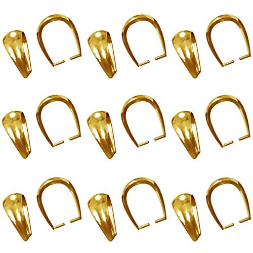 My-Bead 10 Pieces Bail Pinch Pendants 9mm 925 Sterling Silver 24ct Gold Plated Carriers in Jeweller's Quality DIY