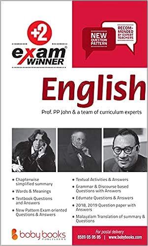 Buy Plus Two / Class 12 English Exam Winner Boby Books