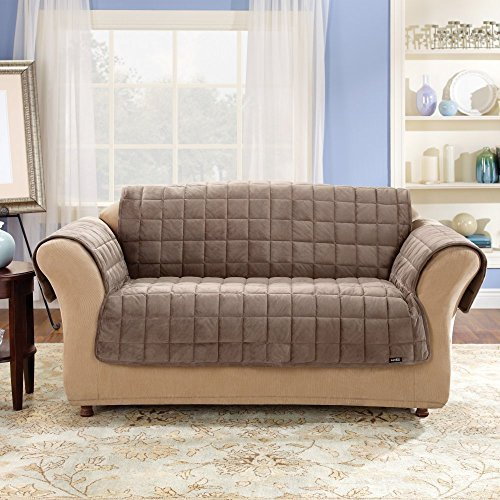 SureFit Deluxe Pet Cover  - Loveseat Slipcover  - Sable - Cover Microfiber Upholstered