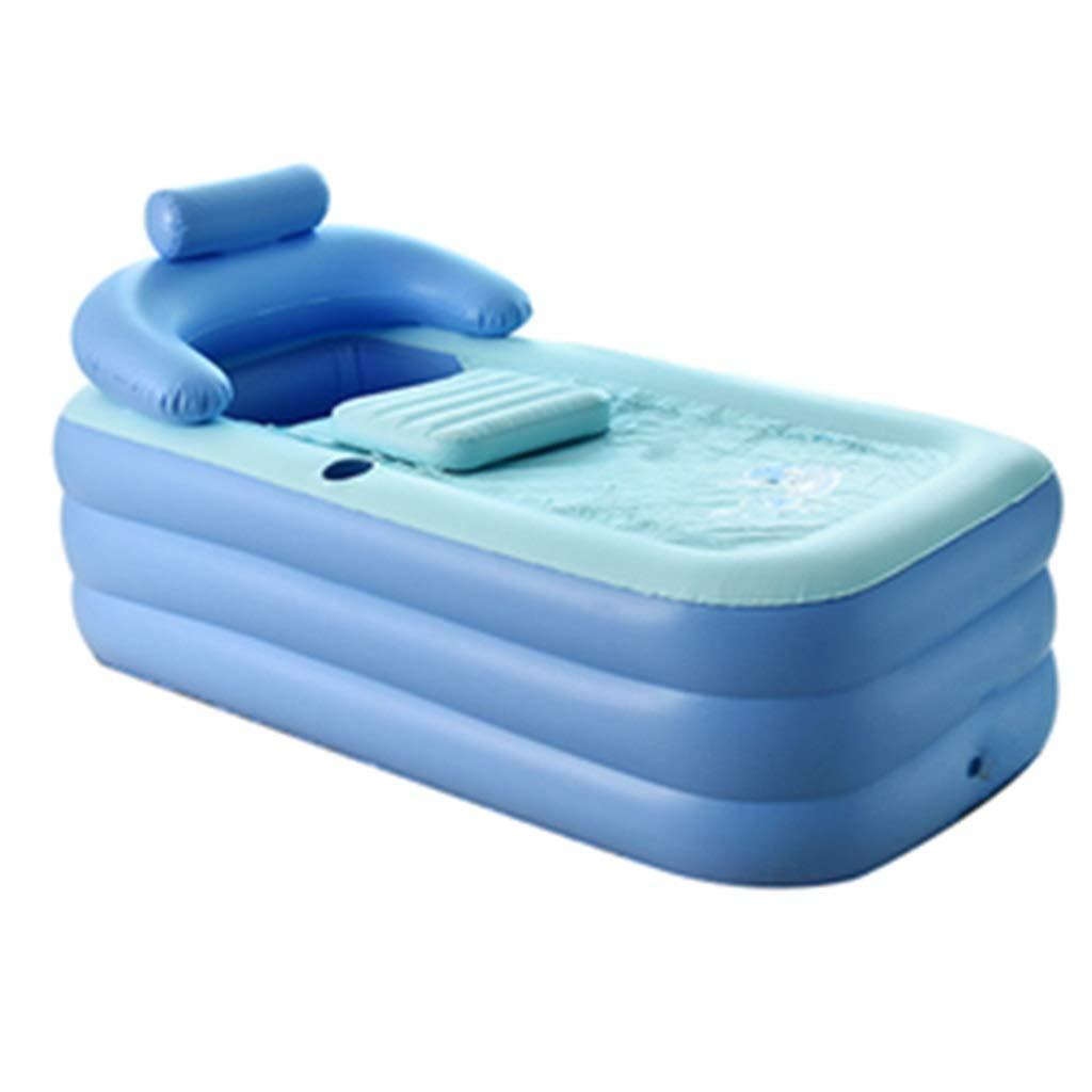 Folding bathtub Folding Inflatable Bathtub Thickening Adult Tub Portable Plastic Bath Tub Children Folding Pool Body Bath Tub Gift (Color : Blue, Size : 1606484cm)