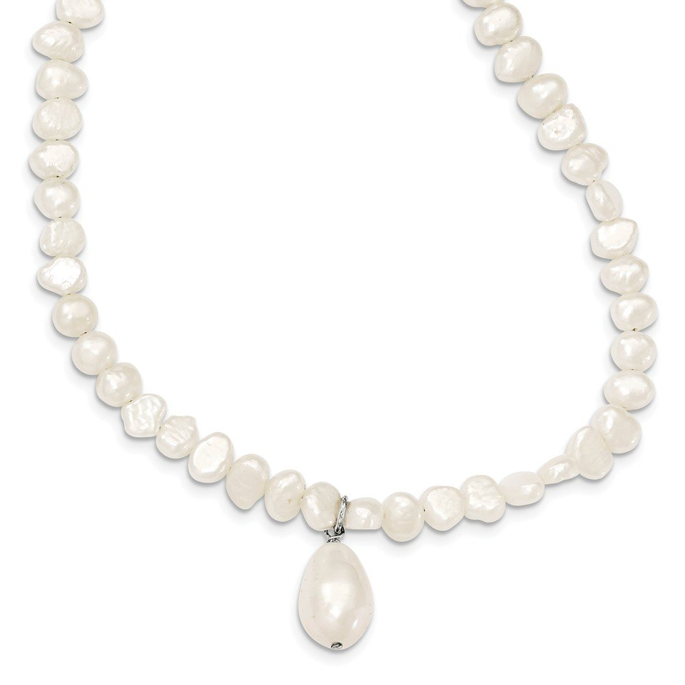 Top 10 Jewelry Gift Sterling Silver FW Cultured Pearl Drop 18in Necklace