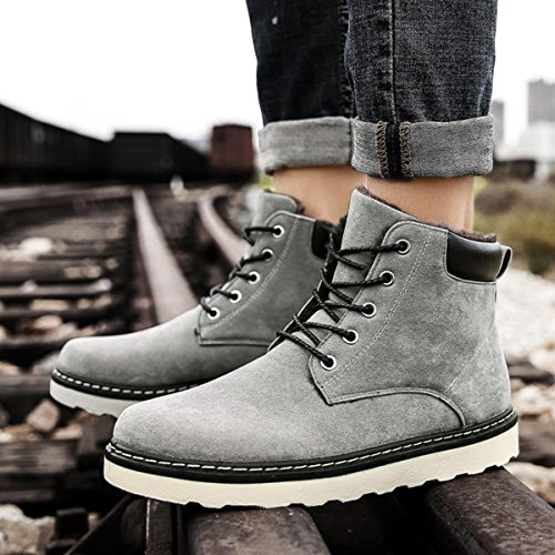 Grey Snow Ankle Leather Shoes Hiking High Lining Lace Swede Mens Up Sneakers with Winter Boots Fur Top t0w5a7q