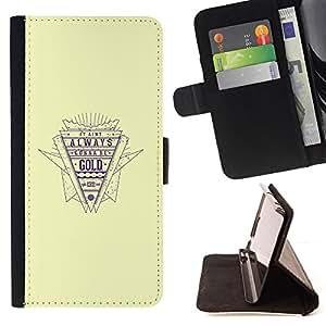 BullDog Case - FOR/Samsung Galaxy Note 3 III / - / gold quote retro style slogan life success /- Monedero de cuero de la PU Llevar cubierta de la caja con el ID Credit Card Slots Flip funda de cuer