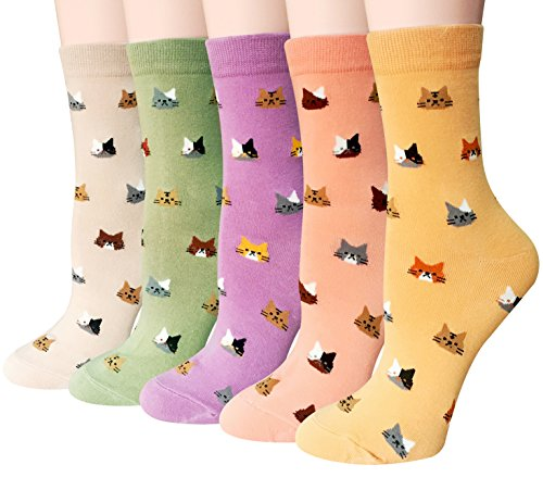 Chalier 5 Pairs Womens Cute Funny Socks Casual Cotton Crew Animal Socks, Style 04, One Size