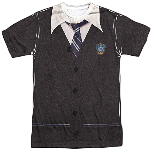 Harry Potter Ravenclaw Uniform (Front/Back Print) Mens Sublimation Polyester Shirt (White, Large) (Harry Potter Uniform Shirt)