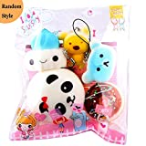 Software : 5pcs Squishy Toy Set, Kawaii Mochi Panda Bun Bear Bread Squeeze Ring Toys Stress Reliever Decor