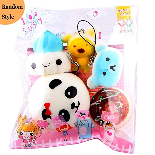 5pcs Squishy Toy Set,Kawaii Mochi Panda Bun Bear Bread Squeeze Ring Toys Scented Stress Reliever
