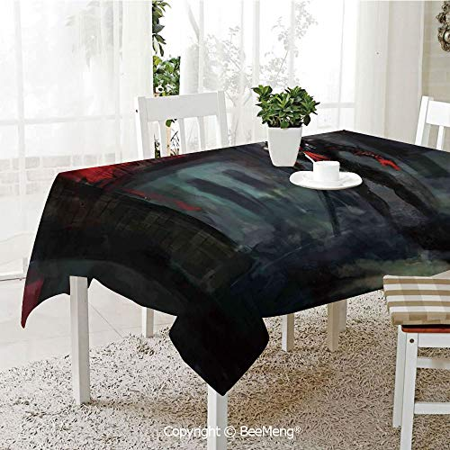 Large dustproof Waterproof Tablecloth,Family Table Decoration,Fantasy World,Fictional Reverent