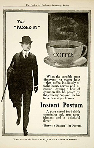 1917 Ad Postum Instant Coffee Drink Beverage Food Grocery Derby Hat Kitchen YRR1 - Original Print Ad from PeriodPaper LLC-Collectible Original Print Archive