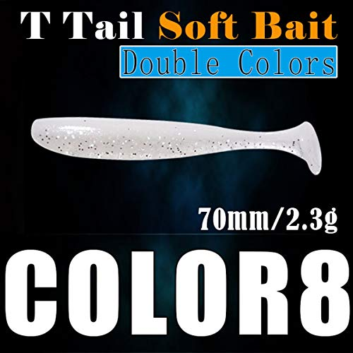 (Yuniroom 10pcs Soft Shad Lures T-Tail Whole Fishing Lure Set Minnow Saltwater Freshwater Lures Soft Plastics Worm Baits (Color : #8))