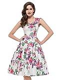 PAUL JONES Womens Flower Print Sleeveless V-Neck Vintage Dress Color A(S)