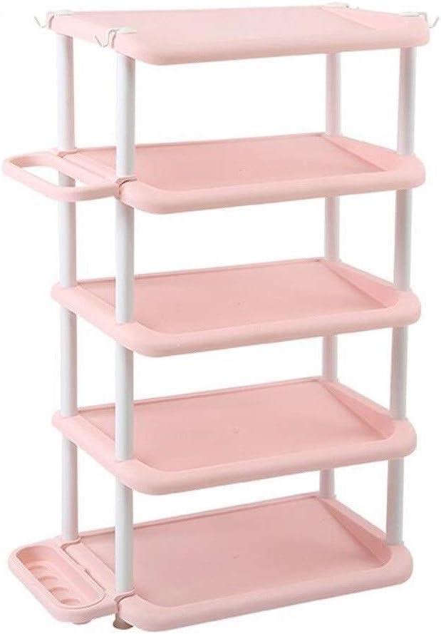 SCDXJ Shoe Rack Simple Furniture Shoe Rack Dormitory Multi-Functional Multi-Layer Assembly Plastic Dust-Proof Shoe Cabinet Large Capacity Storage Rack Rack Color : Pink, Size : 5 Floors