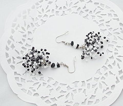 Black White HANDMADE earrings agate drop gemstone jewelry chandelier air bead crochet handmade charm multistrand bib women gift cheap idea her