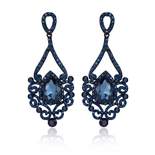 Sinlifu Fashion Drop Dangle Earrings Vintaged Style Chandelier Filigree Dangle Pierced Earrings for Women Girls (Dark (Blue Stone Chandelier)