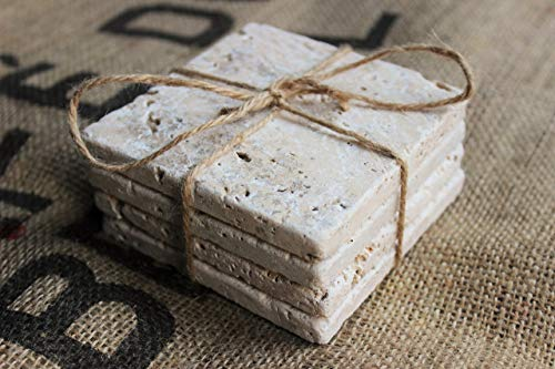 Travertine Drink Coasters Plain Natural Stone Absorbent Coasters Blank Tumbled Stone Tiles Set of Four Coasters/Home Decor/Wedding Gift ()