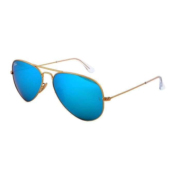 0b164531a3 Ray-Ban Aviator Gafas de sol en oro con azul espejo Lentes, RB3025 112/17:  Amazon.es: Ropa y accesorios